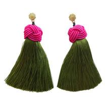 Hart Top Knot Earrings - Pink & Green Tea