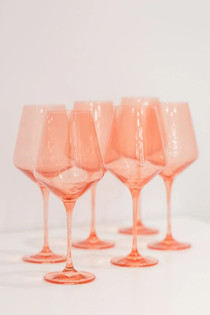 Estelle Colored Stemware Set, Coral Peach