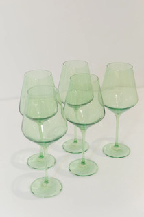 Estelle Colored Stemware Set, Mint Green