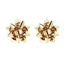 Christmas Present Bow Earrings, Gold