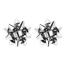 Christmas Present Bow Earrings, Silver