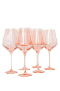 Estelle Colored Stemware Set, Blush Pink