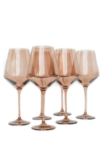 Estelle Colored Stemware Set, Amber Smoke