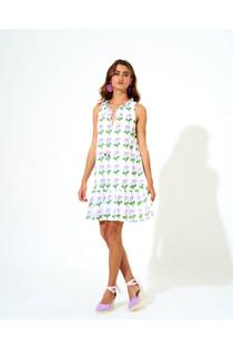 Oliphant Violet Bloom Ruffle Hem Dress