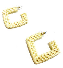 Rattan Square Hoops - Ivory