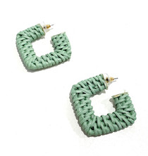 Rattan Square Hoops - Sage