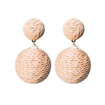 Raffia Pom Pom Earrings