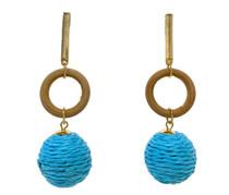 Mod Raffia Drop Earrings, Turquoise