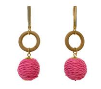 Mod Raffia Drop Earrings, Hot Pink