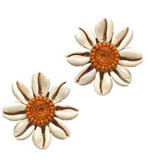 Floral Shell Button Earrings, Orange