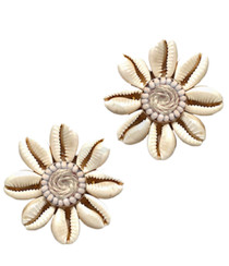 Floral Shell Button Earrings, Natural