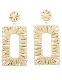 Retro Raffia Rectangle Earrings, Natural