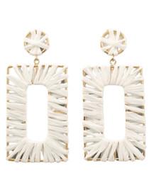 Retro Raffia Rectangle Earrings, White/Gold
