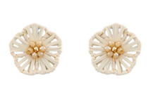 Flower Power Button Earring, Ivory