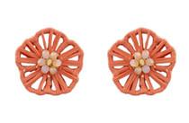Flower Power Button Earring, Peach