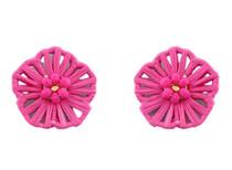 Flower Power Button Earring, Hot Pink