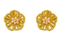 Flower Power Button Earring, Mustard