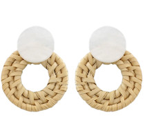 Barbados Button Earring, Ivory Tortoise