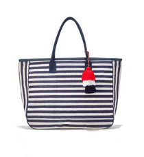 Nantucket Jute Tote, Navy Stripe