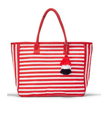 Nantucket Jute Tote, Red Stripe