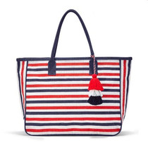 Nantucket Jute Tote, Navy & Red Stripe