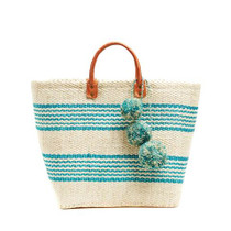 Mar Y Sol Caracas Striped Tote, Aqua