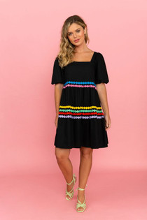 Crosby Saylor Dress, Black Embroidered