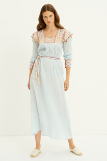 Antik Batik Lucia Crochet Dress, Sky Blue