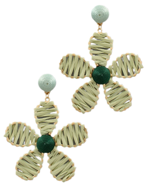 Flower Power Raffia Earrings, Mod Mint