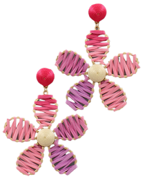 Flower Power Raffia Earrings, Petal Pink