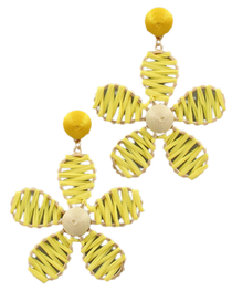 Flower Power Raffia Earrings, Mellow Yellow