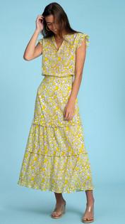 Olivia James Lindsay Skirt, Spring Scatter Lemon