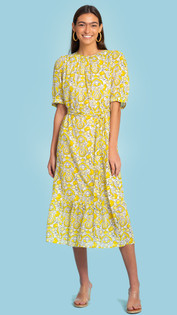 Olivia James Molly Dress, Spring Scatter Lemon