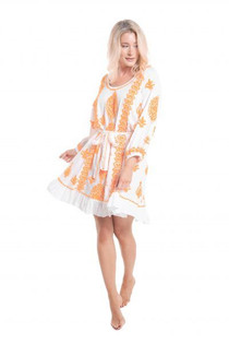 Pranella Dilly Dress, Tangerine & White