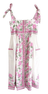 Juliet Dunn Tie Shoulder Dress With Rose Border,  White and Pink