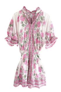 Juliet Dunn Blouson Dress With Rose Border