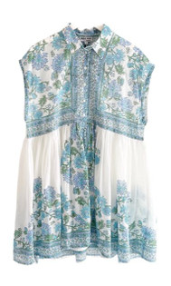 Juliet Dunn Poncho Shirt Dress With Rose Border,  White and Blue