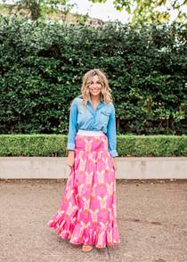 Sheridan French Tiffany Skirt, Hot Pink Zebra