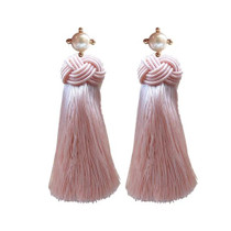 Pearl Tassel Earrings, Pink Champagne