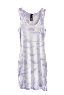 Bobi Ribbed Tank Dress, Lilac Tie-Dye