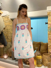 Nimo With Love Short Agate Dress, Maxi Flower Embroidery