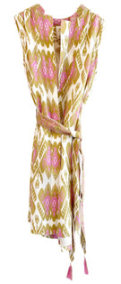 Nimo With Love Apatite Dress, Ikat Olive and Pink