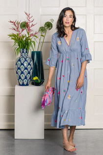Nimo With Love  Lola Dress, Blue Flower Embroidery