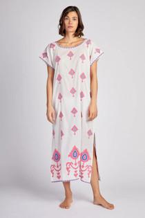 Nimo With Love Malachite Kaftan, Ikat Embroidery Pink