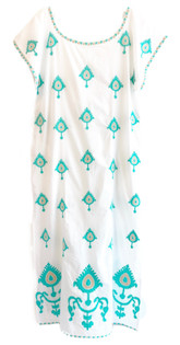 Nimo With Love Malachite Kaftan, Ikat Turquoise Embroidery