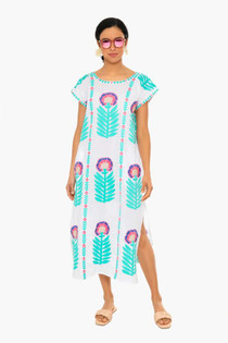 Nimo With Love Malachite Kaftan Dress, Maxi Flower