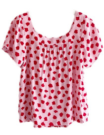 Joy Joy James Button  Top, Red Dotty