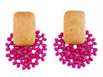 Beaded Bursts Earrings, Fuchsia