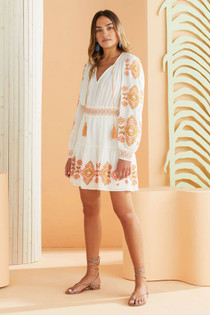 Marie Oliver Kira Embroidered Dress, Summer Ikat