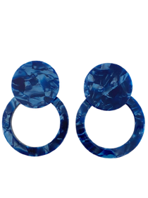 Tortoiseshell Button Stud Classic, Blue